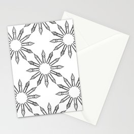 Dip Pen Nibs Circle (Black and White) Stationery Cards