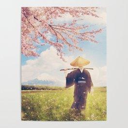 The warrior under the sakura tree Poster