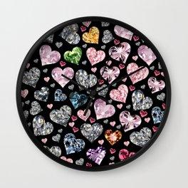 Heart Diamonds are Forever Love Black Wall Clock
