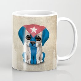 Cute Puppy Dog with flag of Cuba Coffee Mug