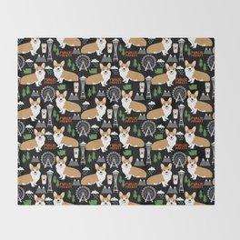 Corgi in Seattle - cute corgi dogs coffee, space needle, ferris wheel print Throw Blanket