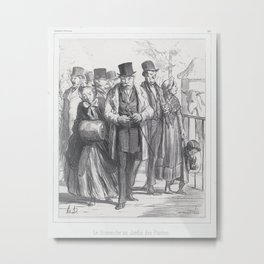 A Sunday in the botanical gardens, published in Souvenirs d'Artistes,March 23, 1862 Metal Print