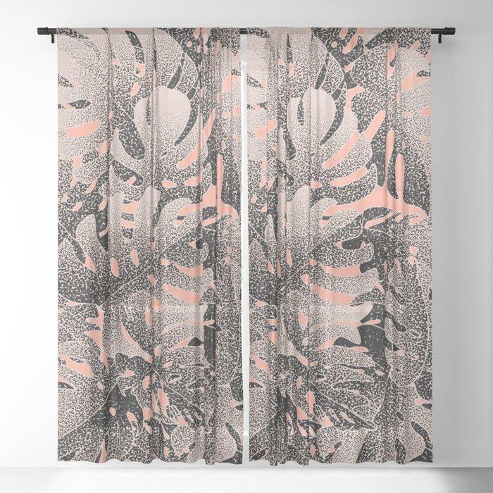 Monstera Gradient Pastel Sheer Curtain