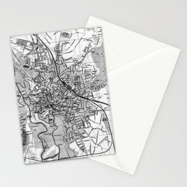 Vintage Map of Hanover Germany (1895) BW Stationery Cards