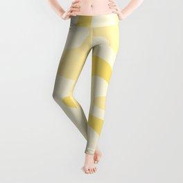 Retro Liquid Swirl Abstract Square in Soft Pale Pastel Yellow Leggings