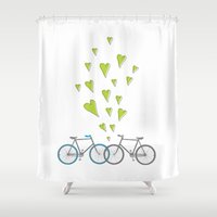 bikes Shower Curtains featuring Raining Love over Bikes by sstudioss