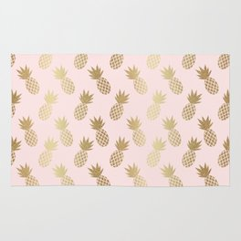 Pink & Gold Pineapples Rug