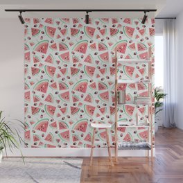 Watermelon popsicles, strawberries and chocolate Wall Mural