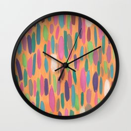 Colorful Dots on Orange Background Abstract Wall Clock