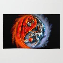 Yin Yang Tiger and Dragon Print Rug