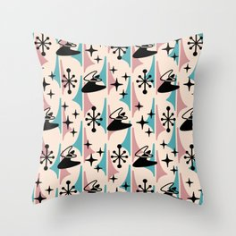 Mid Century Modern Cosmic Boomerang 726 Black Turquoise and Dusty Rose Throw Pillow