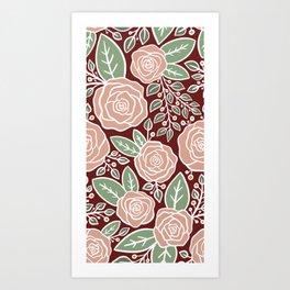 Pink roses Modern Floral Art Print