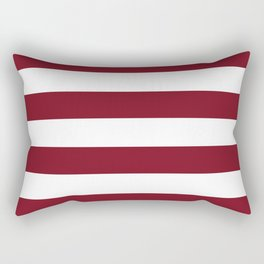 Deep Red Pear and White Wide Horizontal Cabana Tent Stripe Rectangular Pillow