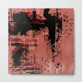 Grunge Paint Flaking Paint Dried Paint Peeling Paint Orange Red Black Metal Print