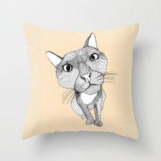 BigHead Cat Throw Pillow