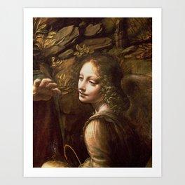 "Leonardo da Vinci ""The Virgin of the Rocks (London)"" Angel Art Print"