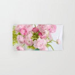 Dreamy Shabby Chic Ranunculus Peonies Roses Print - Spring Summer Garden Flowers Mason Jar Hand & Bath Towel