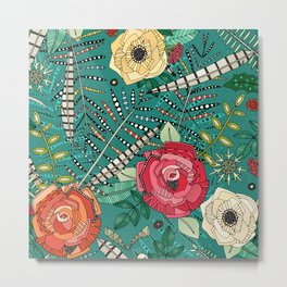boho winter floral teal Metal Print