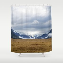 The Home of the Long White Cloud on the Road to Milford Sound Shower Curtain