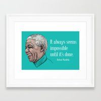 mandela Framed Art Prints featuring Mandela by Fortissimo6