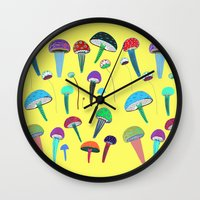 mushrooms Wall Clocks featuring Mushrooms  by Ashley Percival illustration