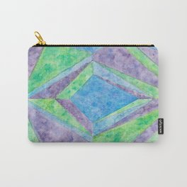 """""""Diamonds and Sapphire"""" - Geometric Watercolor Painting Carry-All Pouch"""