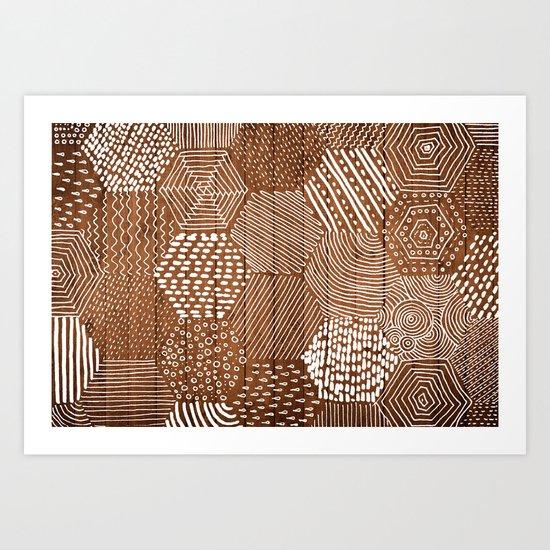 hexagon doodle patterns on wood Art Print