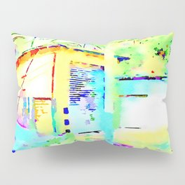 Travel by train from Teramo to Rome: storage cabin of the railway station from the train window Pillow Sham