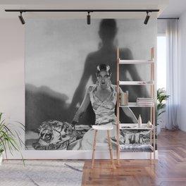 Fierce Josephine Baker Folies Bergère, Paris African American black & white photograph on Tiger Rug Wall Mural