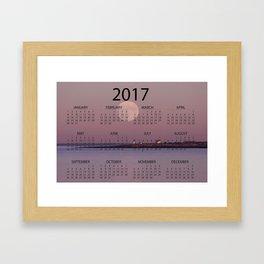 2017 Calendar lighthouse moonrise Framed Art Print