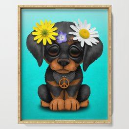 Cute Doberman Puppy Hippie Serving Tray