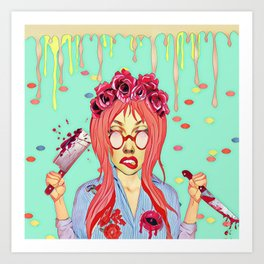 Girl and the blood Art Print