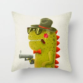 Dino bandito (olive) Throw Pillow
