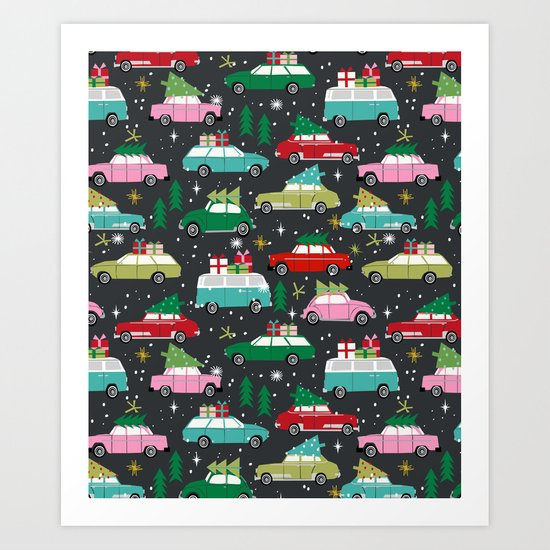 Christmas pattern print vintage cars holiday gifts presents christmas trees cute decor Art Print