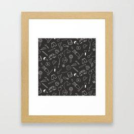 School pattern on black background Framed Art Print
