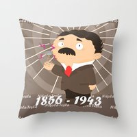 tesla Throw Pillows featuring Nikola Tesla by Alapapaju