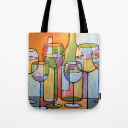 Abstract Art Wine Glasses Alcohol Bar Painting ... Time to Relax Tote Bag