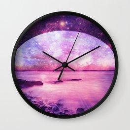 Mystic Lake Pink Purple Wall Clock