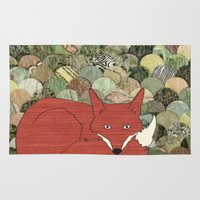 mr fox Area & Throw Rugs featuring Mr. Fox by Elephant Trunk Studio