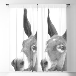 Black and white donkey Blackout Curtain