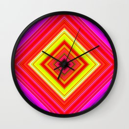 Rainbow Abstract Psychedelic Neon Dawn Triangle Design - Pink Red Violet Wall Clock