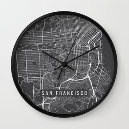 San Francisco Map, California USA - Charcoal Portrait Wall Clock