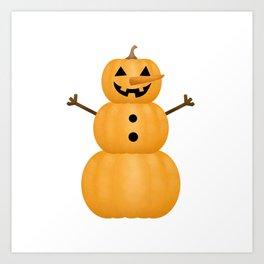 Pumpkin Snowman Art Print
