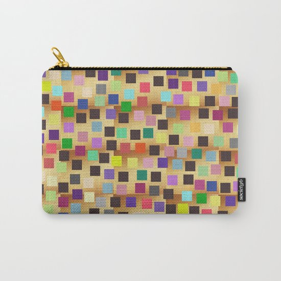 Squares On Gold Carry-All Pouch