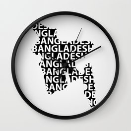 Map of Bangladesh with typography- International mother language day Wall Clock