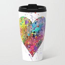 Heart Watercolor Art Print Love Home Decor Valentine's Day Wedding or Engagement Gift Travel Mug