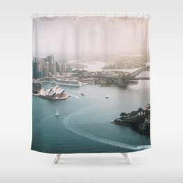 Sydney Opera House Harbour Bridge | Australia Aerial Travel Photography Shower Curtain