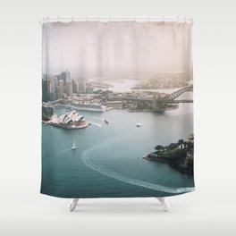 Sydney Opera House Harbour Bridge | Australia Aerial Travel Photography Shower Curtain