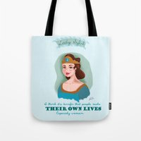 downton abbey Tote Bags featuring Lady Sybil Crawley Downton Abbey by chiclemonade