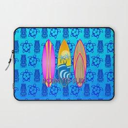 Pink Born To Surf Blue Tiki Mask Laptop Sleeve